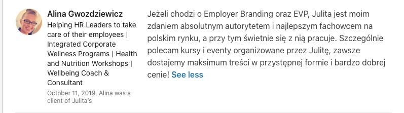 referencje Alina Gwozdziewicz